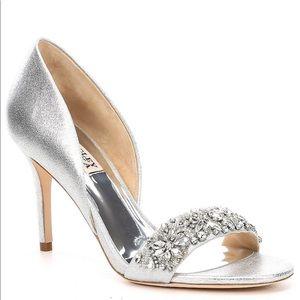 Badgley Mischka Silver Embellished Heels